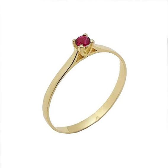 Anel Em Ouro De Noivado Debutante 18k Zircônia Vermelha
