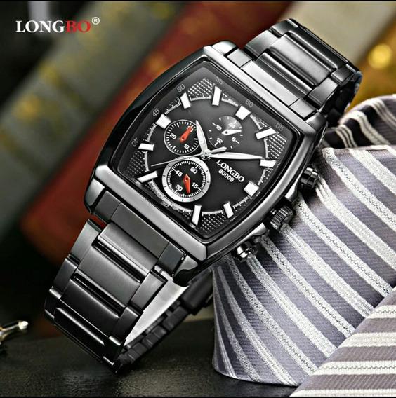 Relógio Masculino Longbo Quadrado Aço Inox Promoção Original