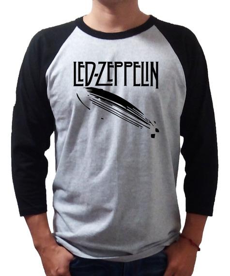 Led Zeppelin Playera Raglan Gris Con Negro Para Hombre