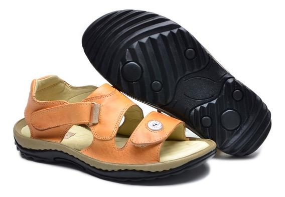 Sandália Papete Chinelo Couro Antistress Ortopédico