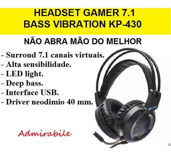 Fone Ouvido Headset Gamer 7.1 Bass Vibration Ps4 Pc Kp-430