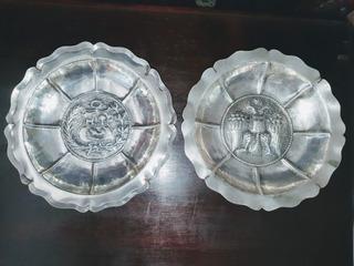 Par De Pratos Decorativos Em Prata 925 Peruana Antiga