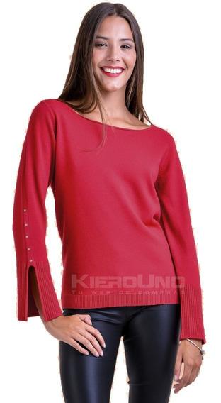 Sweater Liviano Hilo Cuello Redondo Con Tachas Moda Verano