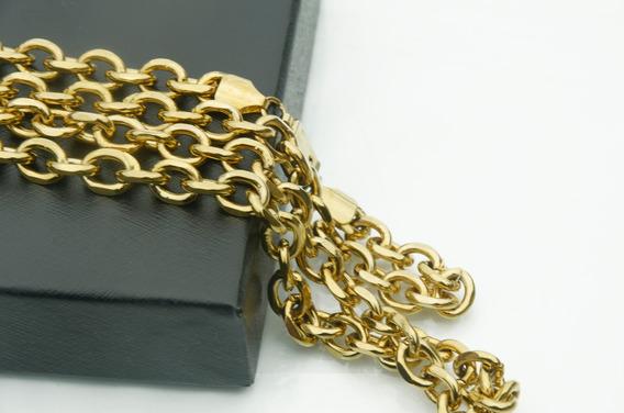 Colar Cordão Corrente Cadeado 9mm Banhado A Ouro 18k Oferta