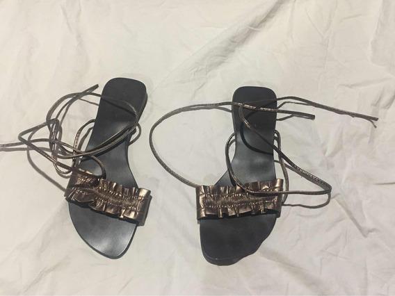 Sandalias Color Bronce Muy Poco Uso