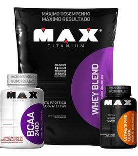 Kit - Whey Blend + Bcaa + Ultimate Fire Black - Max Titanium