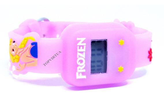 Relógio Frozen Quadrado 3d Digital Rosa Infantil P. D