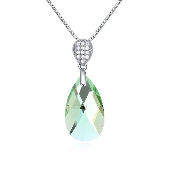 Swarovski Crystal Dije Verde Oval Ak Jewelry Plata Italy