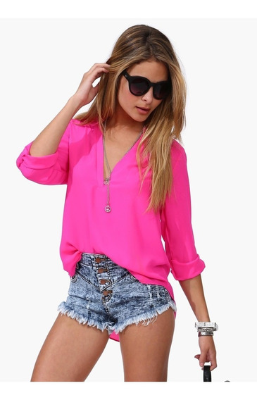 Camisa Pink Chiffon Importada Pronta Entrega No Brasil