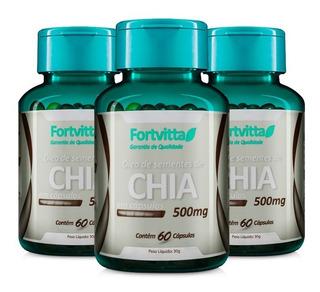 Óleo De Chia Fortvitta - 3 Potes De C/ 60caps De 500mg Cada