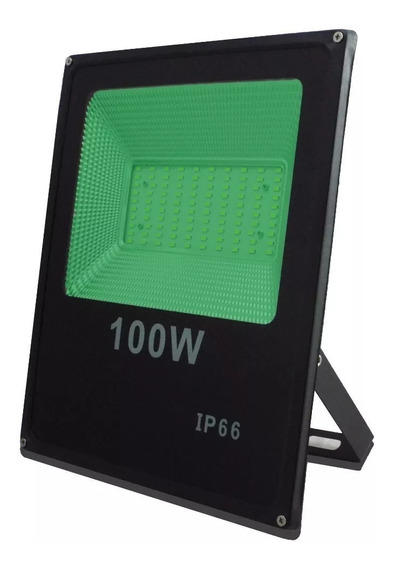 Refletor Holofote Verde Smd 100w Slim Bivolt Ip66 Microled