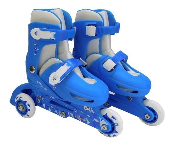 Patins Infantil 3 Rodas Minino Menina Ajustavel Kit Proteção
