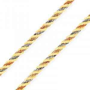 Corrente De Ouro 18k Corda Tricolor 45cm 2mm Mlc69