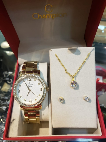 Relógio Champion Feminino Dourado Kit Colar Brincos Original
