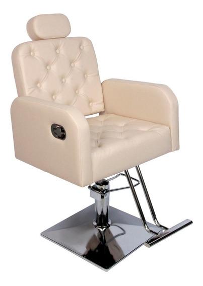 Cadeira Poltrona Reclinável Com Botão Salão Beleza + Lombar