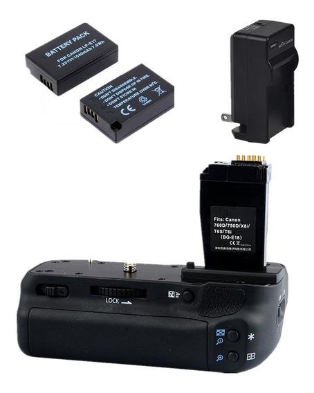 Grip Camera Canon 750d 760d Rebel T6i 8000d +2x Baterias 12x