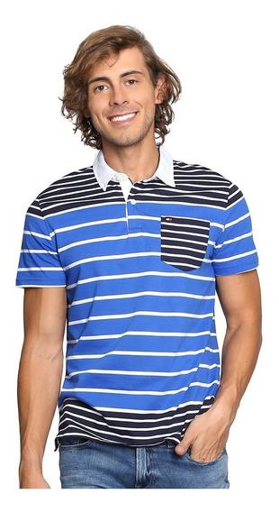 Playera Polo Tommy Hilfiger Hombre Rayas Azul 100% Original