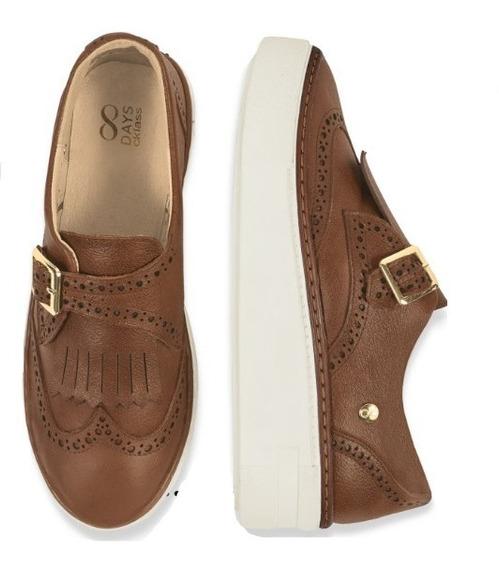 Calzado Zapato Casual Dama Mujer Confort Piel Miel Miel