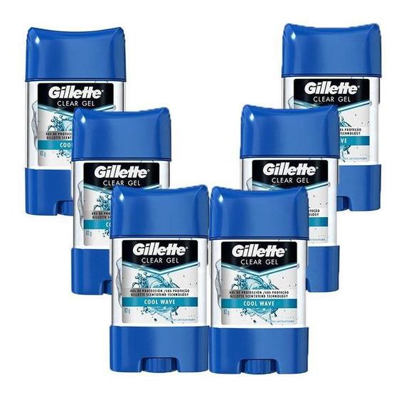 Kit Com 6 Desodorantes Gillette Clear Gel Cool Wave 82g