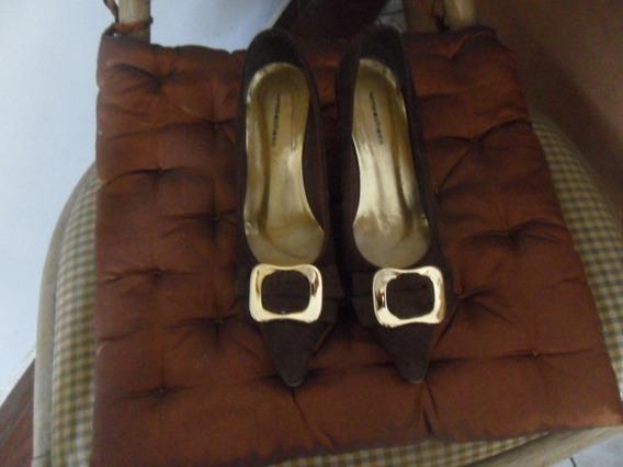 Sandália Scarpin Sense Shoes Nobuck Salto 6 Cm