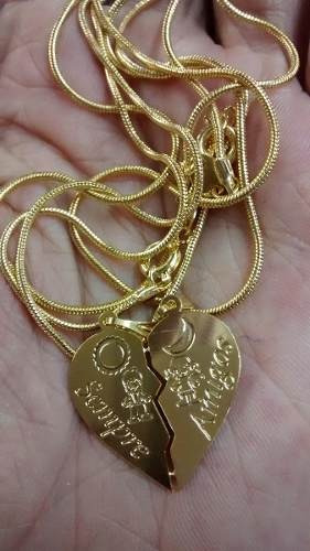 Colar Amizade Folheado Ouro Frase Amigos Para Sempre
