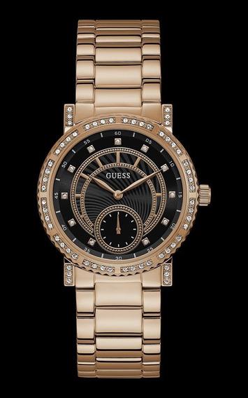 Relógio Guess Feminino Rosé Cristais Fundo Preto 92683lpgdra