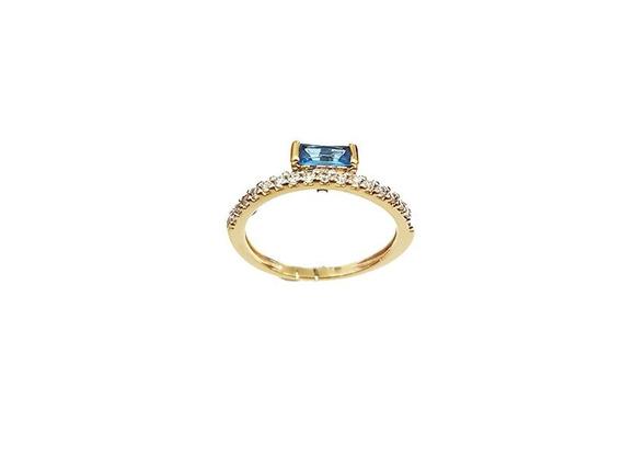 Solitário Cristal Azul Com Cristais Cravejados