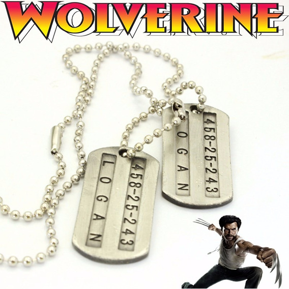 Colar X-men Wolverine Logan Dupla-face