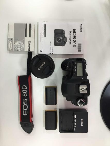 Camera Canon 80d - Usada - Kit Com Lente 18-55 - 2 Baterias
