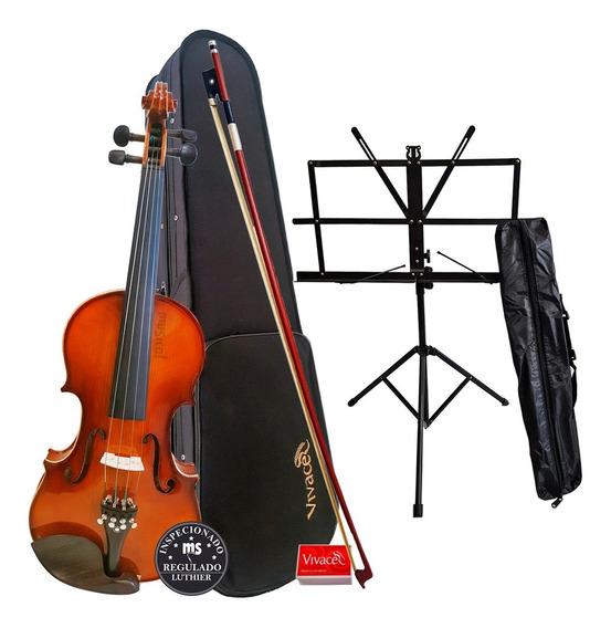Violino 4/4 Vivace Be44 Kit Arco + Estojo + Breu + Estante