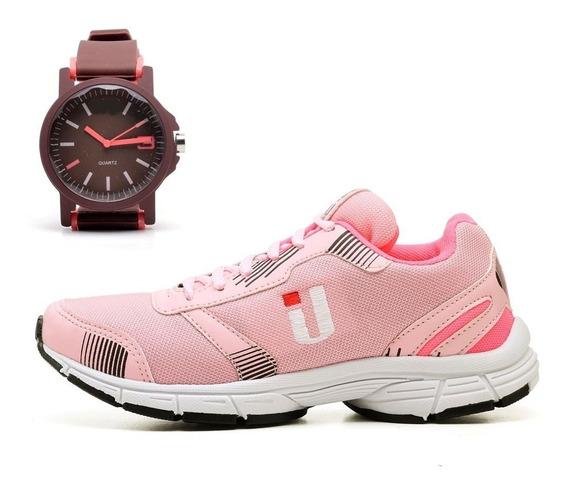 Tênis Caminhada Academia Leve Confortável Feminino + Relógio