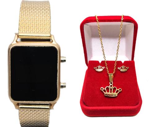 Relógio Feminino Dourado De Pulso Digital Led + Brinde Lindo