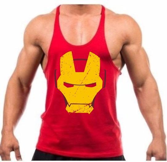 Camiseta Regata Iron Man Cavada Treino Academia Homem Ferro