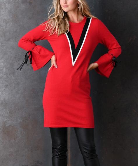 Vestido Sueter Rojo Simply Couture Juvenil Moderno Bluson