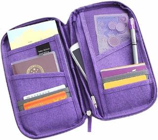 Porta Passaporte Bolsa Carteira Para Viagem Com Divisórias
