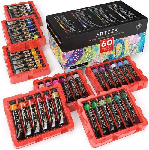 Pinturas Arteza Gouache 60 Colores 12ml / Ideal Para Canvas
