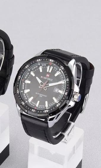 Relógio Masculino Naviforce Preto Com Prata 9056 Original