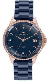Relógio Technos Cerâmica Azul Com Rosê C/ Brilho 2315kzt/4a