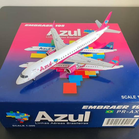 Miniatura Avião Jc Wings 1:200 Azul Embraer 195 Rosa