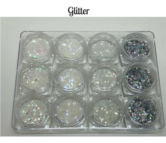 Glitter Encapsulado Flocado Para Unhas 12 Cores Oferta!!