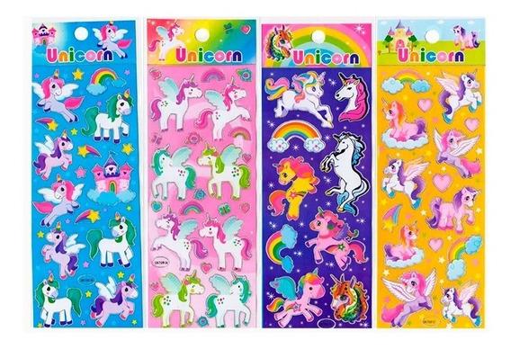 Unicornios Kawaii X10 Planchas Stickers P Souvenir Colección