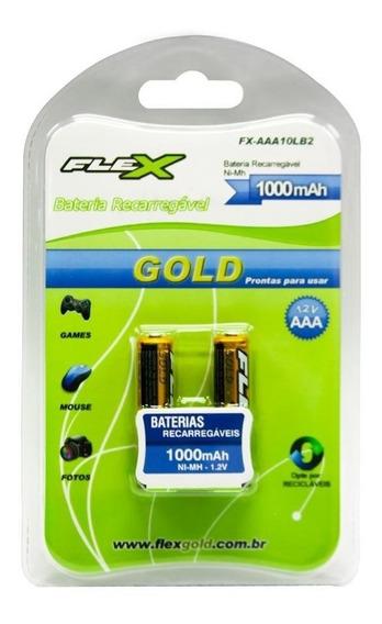 Pilha Bateria Flex Aaa Recarregável C/02 1100mah Original
