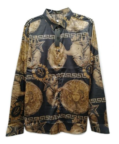 Camisa Versace Circus Con Detalle De Elefante Y Medusa.