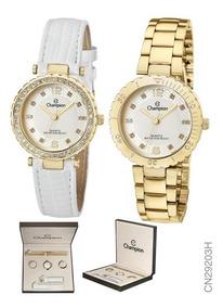 Kit Relógio Champion Feminino Troca Aro E Pulseiras Cn29203h