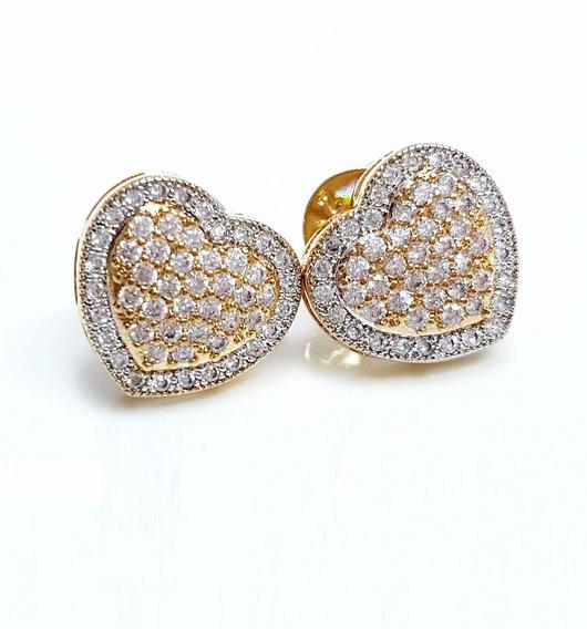 Brinco Feminino Coração Cristal Luxo Banhado Ouro18k
