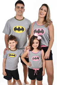 a0564768916961 Kit 4 Pijamas Batman Família Curto Adulto E Infantil