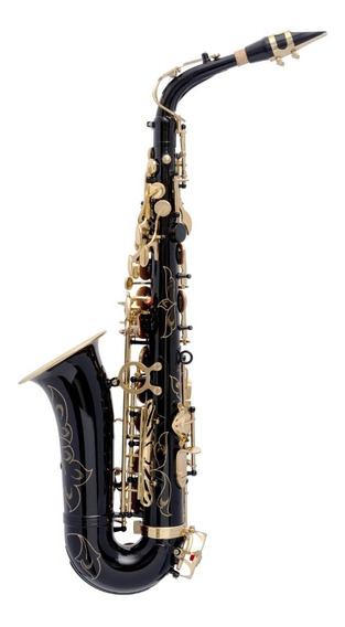 Saxofone Alto Mib Preto Com Douradas (novo) Garantia+nfe