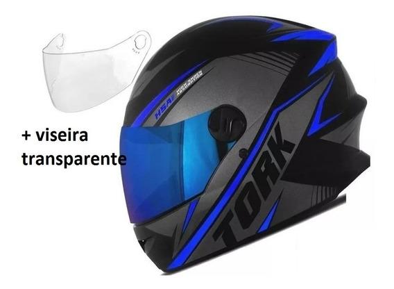 Capacete Fechado R8 Pro Tork Lindo + Viseira Azul Iridiun