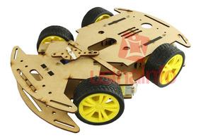 Carrinho Arduino Mdf / Carro Robô 4wd Com Eixo Móvel