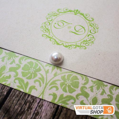 Imagem 1 de 4 de 5 Convites De Casamento Verde E Branco Simples E Tradicional